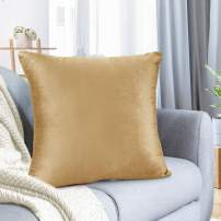 """Nestl Bedding Throw Pillow Cover 24"""" x 24"""" Soft Square Decorative Throw Pillow Covers Cozy Velvet Cushion Case for Sofa Couch Bedroom - Camel Gold"""