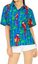 LA LEELA Women Plus Size Summer Tropical Hawaiian Beach Shirt Swimwear Printed B