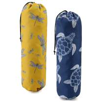 Durable Grocery Bags Holder 2 Pack Washable Plastic Sack Dispenser w Drawstring Heavy Duty Garbage Bags Storage Carrier Organizer Saver for Shopper Bags Lovely Animal Pattern Yellow Navy Blue