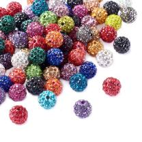 Beadthoven 100Pcs 10mm Shamballa Pave Disco Ball Clay Beads Mixed Color Polymer Clay Round Rhinestone Beads Charms for Jewelry Making