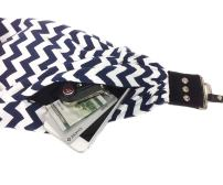 "Capturing Couture Scarf Camera Strap with Hidden Pocket, Chevron Navy - Zipper Pocket Holds Your Phone, Keys, Cash and Spare Memory Card, Pocket Size: 6.5"" Opening x 4"" Deep, Stretch Material"