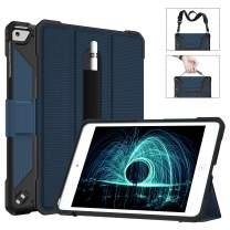 SHUICHEMF iPad Mini 5 Case with Pencil Holder Hand/Shoulder Strap,Miesherk Smart Tri-fold Stand Leather Back Folio Cover with Auto Sleep/Wake Feature Case for iPad Mini 5 7.9 Inch 2019,Blue