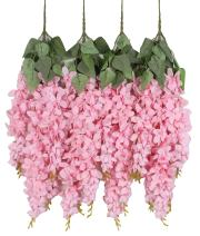 Duovlo Silk Wisteria Flower Artificial 2.13 Feet Hanging Wisteria Vine Fake Flower Bush String Home Party Wedding Decoration,Pack of 4 (Pink)