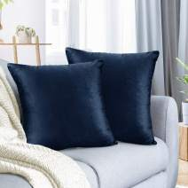 """Nestl Bedding Throw Pillow Cover 18"""" x 18"""" Soft Square Decorative Throw Pillow Covers Cozy Velvet Cushion Case for Sofa Couch Bedroom, Set of 2, Navy Blue"""