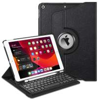 """Fintie Keyboard Case for iPad 7th Generation 10.2"""" 2019-360 Degree Rotating Smart Stand Cover w/Pencil Holder, Built-in Wireless Bluetooth Keyboard for iPad 10.2"""" Tablet, Black"""