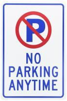 NMC TM33G NO PARKING ANYTIME Traffic Sign - 12 in. x 18 in. Standard Aluminum Sign with Graphic, Blue/Red On White