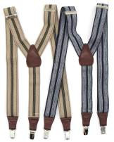 "2 PC Mens Stripe Suspenders for business & Dress,1.5"" Y-Back Vintage-Style 3 Clip-On Elastic Braces for Pants Skirts Shorts"