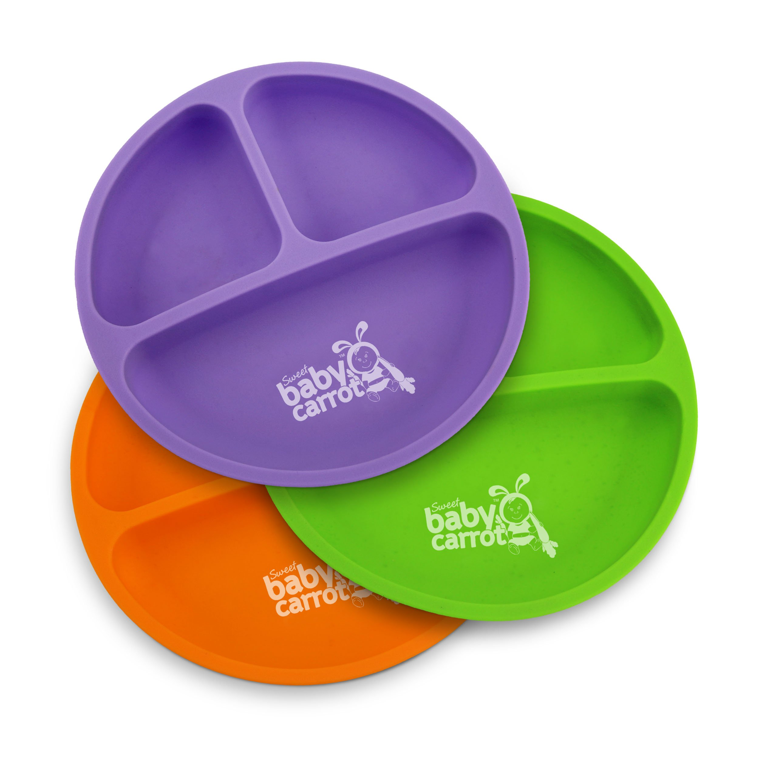 Divided Soft Plates for Baby and Toddler. | Sweet Baby Carrot | Soft, Unbreakable & 100% Safe | BPA Free | 3 Pack Set | Assorted Colors (Purple, Green, Orange) | Silicone
