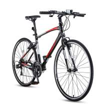 Mountain Bike, Youth/Adult Outdoor Bike,Aluminum and Steel Frame, 21 Speed Options, 700C Double-Layer Wheels,Multiple Colors (Black & Red,21-Speed)