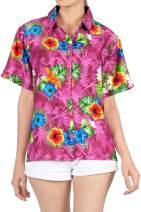 LA LEELA Women Plus Size Funky Hawaiian Shirt Shortsleeve Cover Up Printed A