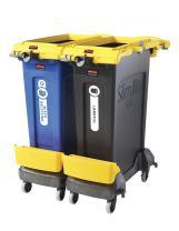 Rubbermaid Commercial Products 2032952 Slim Jim Dual Rim Caddy Kit + 23 gal. 2Pk, Yellow
