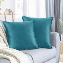 """Nestl Bedding Throw Pillow Cover 16"""" x 16"""" Soft Square Decorative Throw Pillow Covers Cozy Velvet Cushion Case for Sofa Couch Bedroom, Set of 2, Teal"""