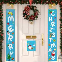 AERZETIX Merry Christmas Decorations Banner - 3 Piece Blue Christmas Porch Welcome Sign Perfect for Front Door Fireplace Window Christmas Holiday Party Decoration