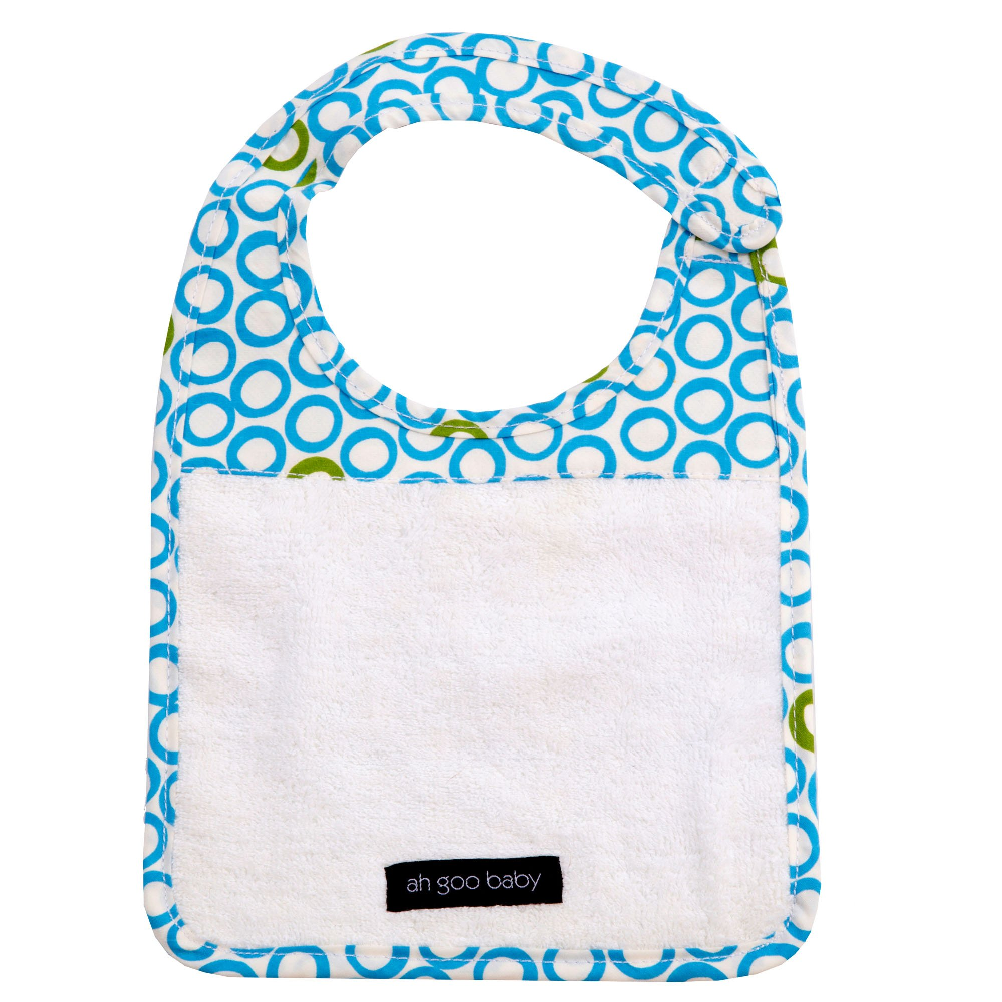 Ah Goo Baby Bib, 100% Cotton Terry Cloth, Wrap Around Collar, Bubbles in Water Pattern