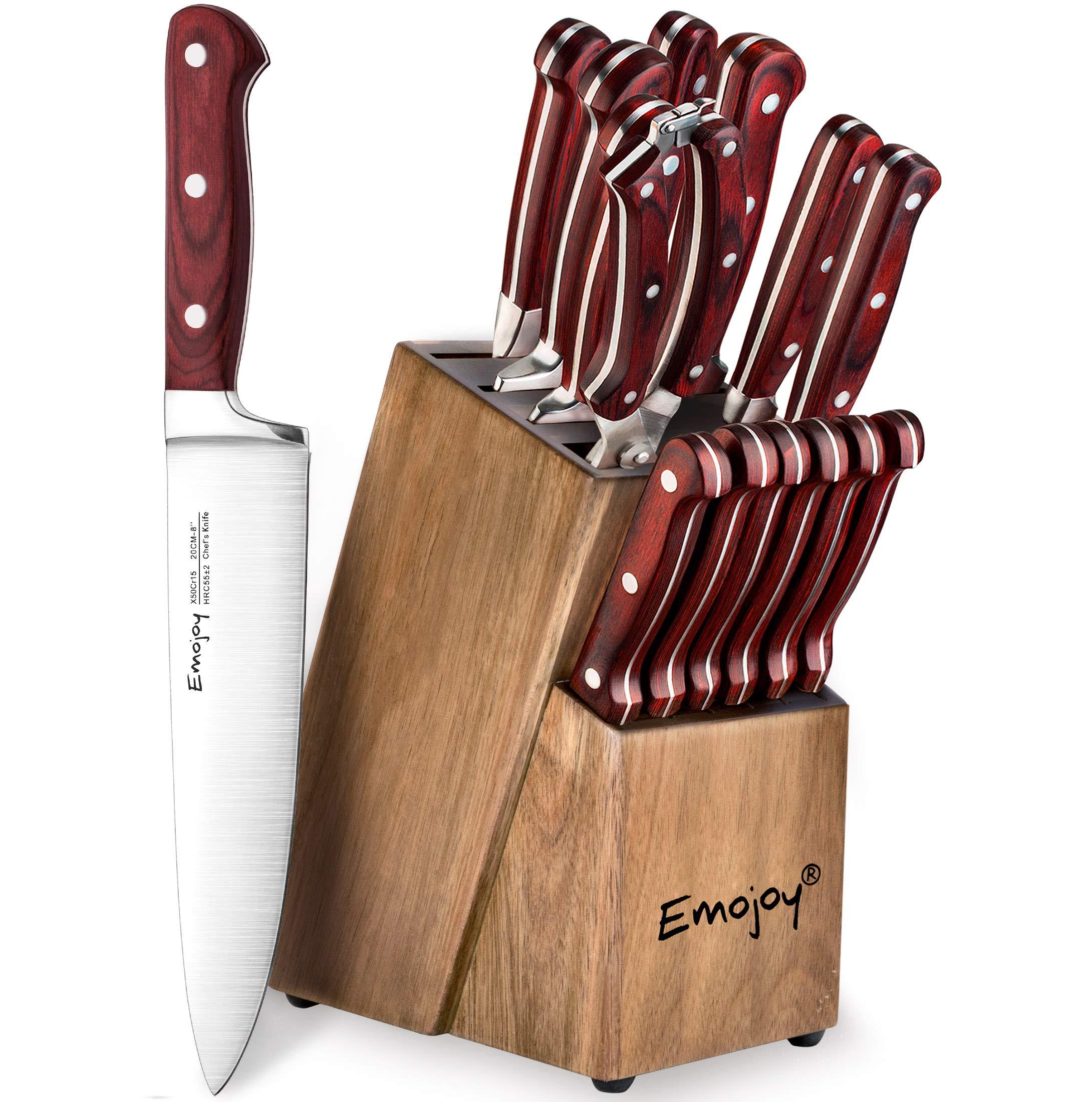 Knife Set, 15-Piece Kitchen Knife Set with Wattle-Wood Block, Manual Sharpening for Chef Knife Set, German Stainless Steel, Emojoy