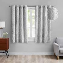 MODERNOVIA 52x63 Inch Light Gray Room Darkening Curtain Grommet Moroccan Geo Jacquard Pattern Drape for Living Room and Bedroom 2 Panels