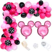 BeYumi Minnie Balloon Garland Arch Kit, 115pcs Light Pink Rose Red Black Balloons for Minnie Theme Party Kids Birthday Baby Shower Minnie Party Supplies Baby Shower Wedding Decoration Photo Booth Props