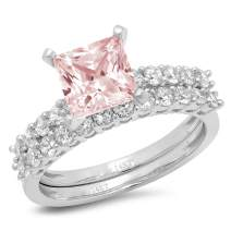 2.63ct Princess Cut Pave Solitaire with Accent Pink Simulated Diamond Designer Statement Classic Ring Band Set Real Solid 14k White Gold