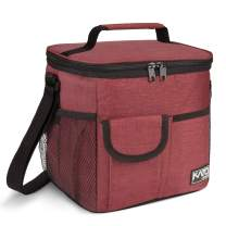 Large Insulated Lunch Bag for Women Men, 10L Leakproof Thermal Reusable Lunch Box for Adult & Kids, Tall Meal Prep Lunch Cooler Tote with 4 Pockets for Office Work by Tirrinia, Red