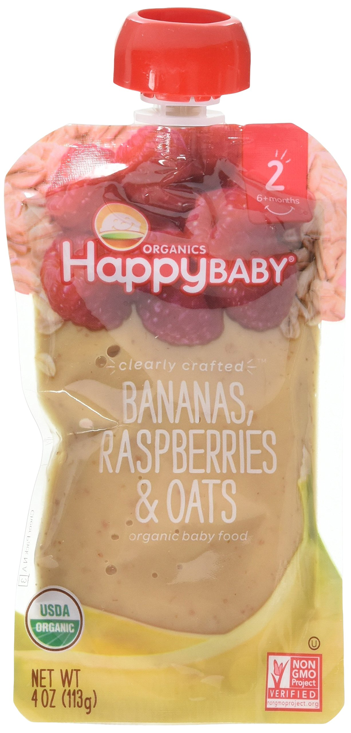 Happy Baby Organic Clearly Crafted Stage 2 Baby Food Bananas Raspberries & Oats, 4 Ounce Pouch Resealable Baby Food Pouches, Fruit & Veggie Puree, Organic Non-GMO Gluten Free Kosher (Pack of 8)