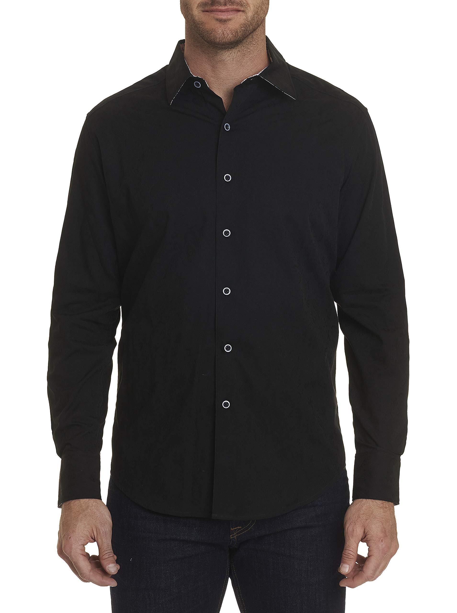 Robert Graham Hanging Gardens L/S Paisley Printed Woven Shirt Classic Fit Black XLarge