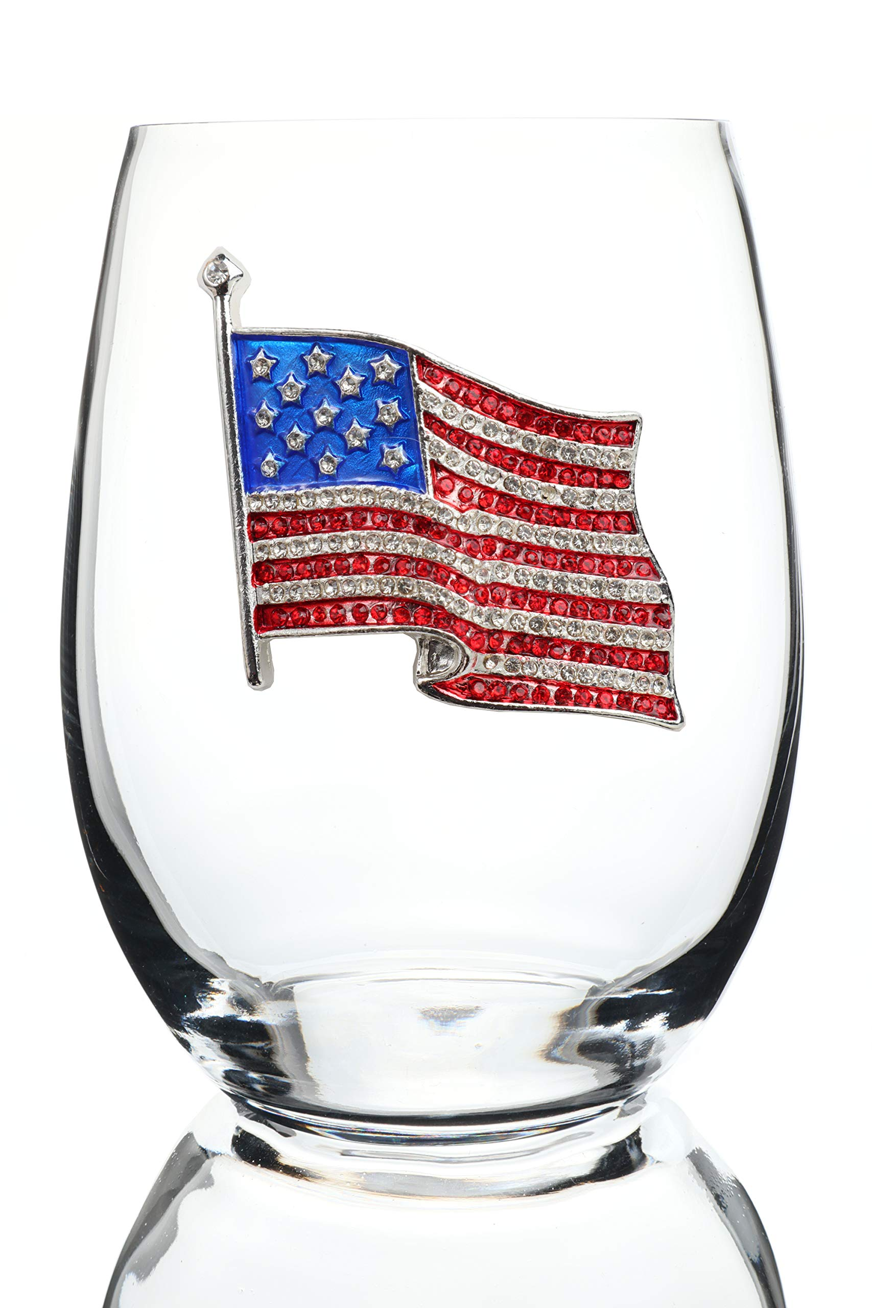 THE QUEENS' JEWELS American Flag Jeweled Stemless Wine Glass - Unique Gift for Women, Cute, Fun, Fourth of July, Not Painted, Decorated, Bling, Bedazzled, Rhinestone