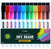 Dry Erase Markers, Fine Tip and Magnetic – Thin, Colored Whiteboard Markers for Fridge, School or Office - Low Odor and Fine Point, 12 Set Assorted Colors