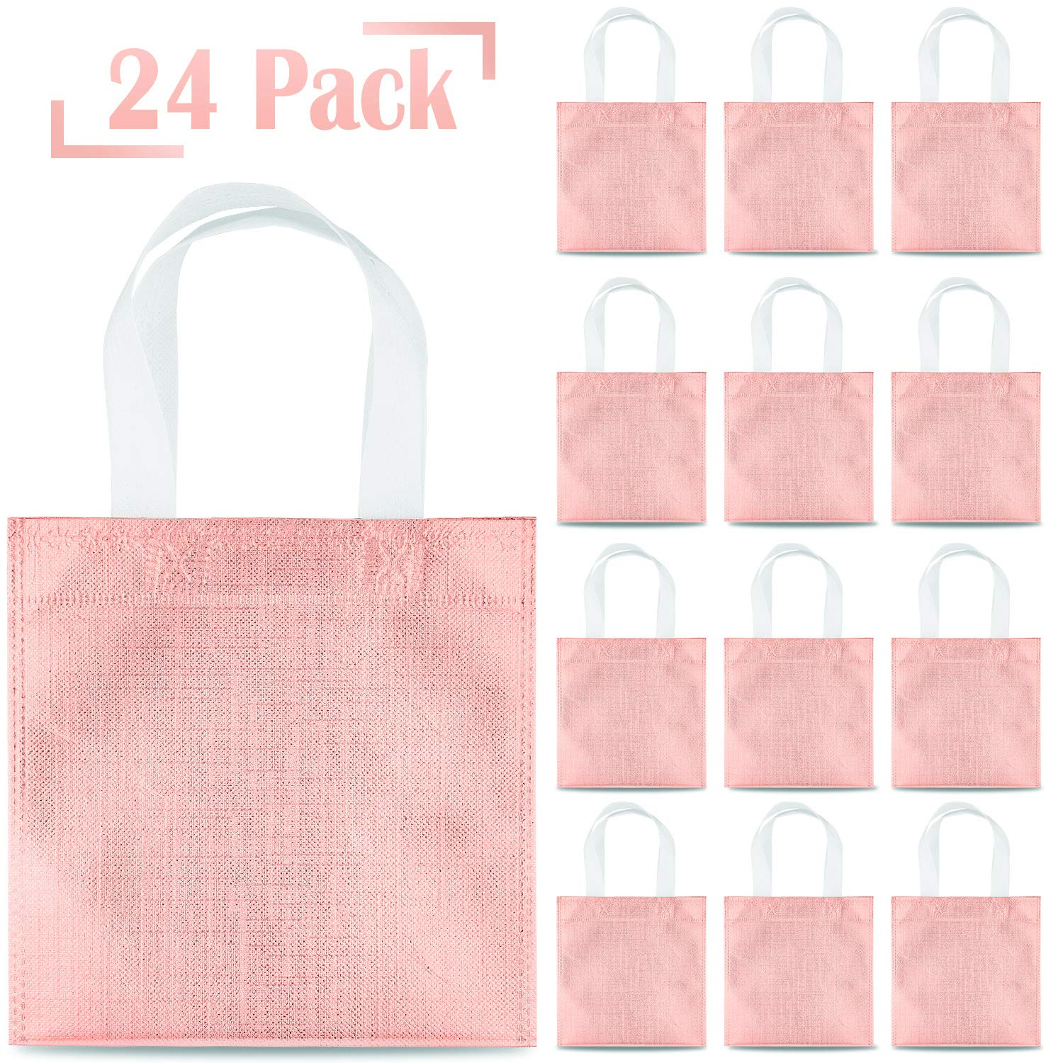 Whaline 24 Pieces 8''x8'' Non-Woven Small Party Bags, Gift Bags, Reusable Candy Goodie Bags, Glossy Tote Bags, DIY Craft Bags for Hoilday, Event, Birthday (Rose Gold)