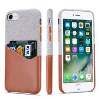 Lopie iPhone SE 2020 Case [Sea Island Cotton Series] Slim Card Case Compatible for iPhone 7 and iPhone 8, Fabric Protection Cover with Leather Card Holder Slot Design, Light Brown