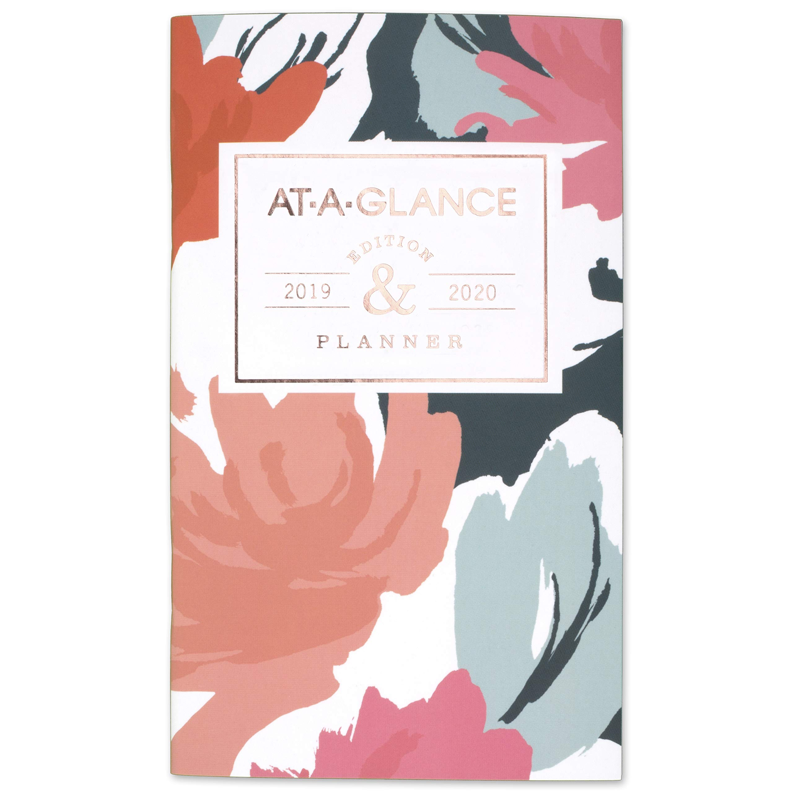 "AT-A-GLANCE 2019-2020 Monthly Planner, 2 Year, 3-1/2"" x 6"", Pocket, Badge Floral (1148B-021)"