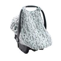 Bebe au Lait Classic Muslin Car Seat Cover, Easy Snap Straps, Fully Zippered Opening - Leaves