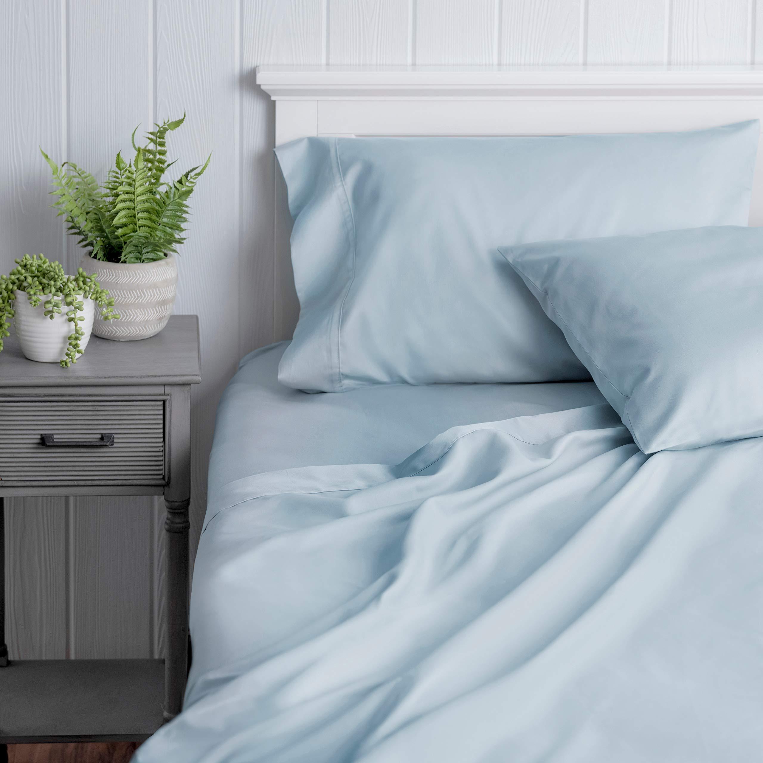 Welhome 100% Cotton Sateen Full Sheet Set - 4 Piece - Luxurious - Super Soft & Cozy - Durable - Classic - All Season Bed Sheet Set - Deep Pocket - Easy fit -Powder Blue
