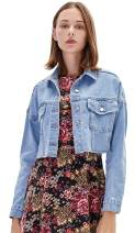Nicasia Women's Short Denim Jacket Lapel Long Sleeve Cropped Washed Button Down Coat Blue