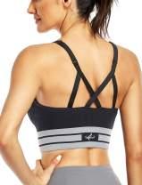 OBICUM Sports Bras for Women,Longline Strappy Adjustable Medium Impact Workout Bra for Yoga Running Fitness