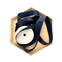 Navy Blue and Rose Gold Grosgrain Ribbon, 1 Inch, 10 Yards, Double Face Fabric Ribbon with Copper Trim and Silk Stripe for Party Decoration, Wrapping Presents, Crafts, Flower Arrangements and More