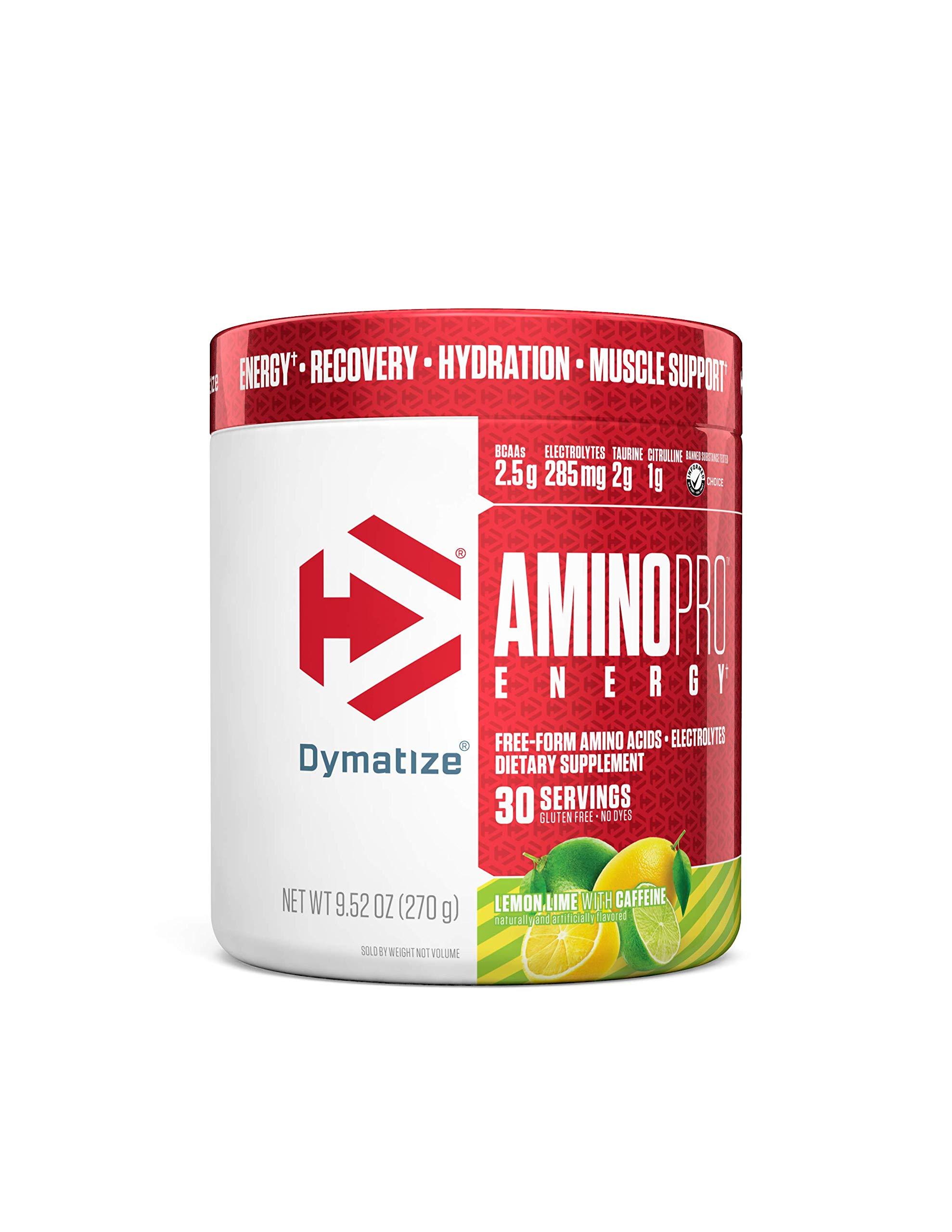 Dymatize AminoPro + Energy Endurance Amplifier Powder, Reinforced with Caffeine, Electrolytes & Amino Acids, Lemon Lime, 9.52 Oz