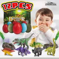 SHARKOOL Realistic Looking Dinosaur Toys Pack of 12, Easter Eggs,Dino Eggs Party Favors with Decorative Rocks and Trees, 6 Different Dinosaur Figure Toys Including T-Rex,Stegosaurus for Boys Girls