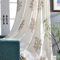 VOGOL Trees Embroidered Elegant Curtains for Living Room, Modern Contemporary Grommet Window Panels for Bedroom, 52x63, 2-Panel Pack