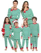 Aibrou Family Matching Christmas Pajamas Set Holiday Sleepwear Striped Pjs for Women/Men/Boys/Girls