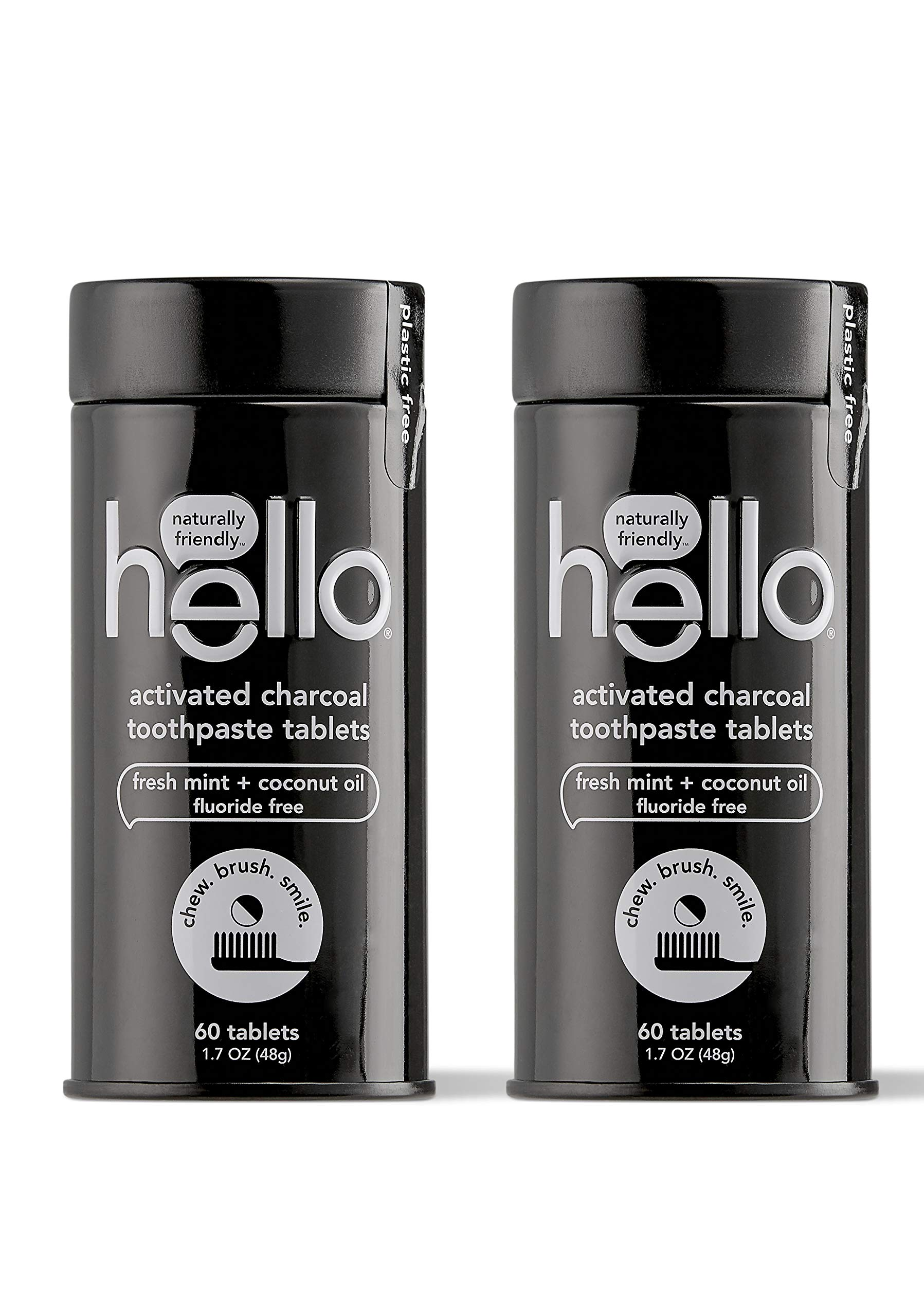 Hello Activated Charcoal Whitening Toothpaste Tablets with Natural Mint, Fluoride Free, Travel Friendly, 60 Count, Pack of 2