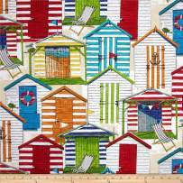 Richloom Fabrics 0333328 Richloom Solarium Outdoor Beach Huts Cabana Fabric by the Yard
