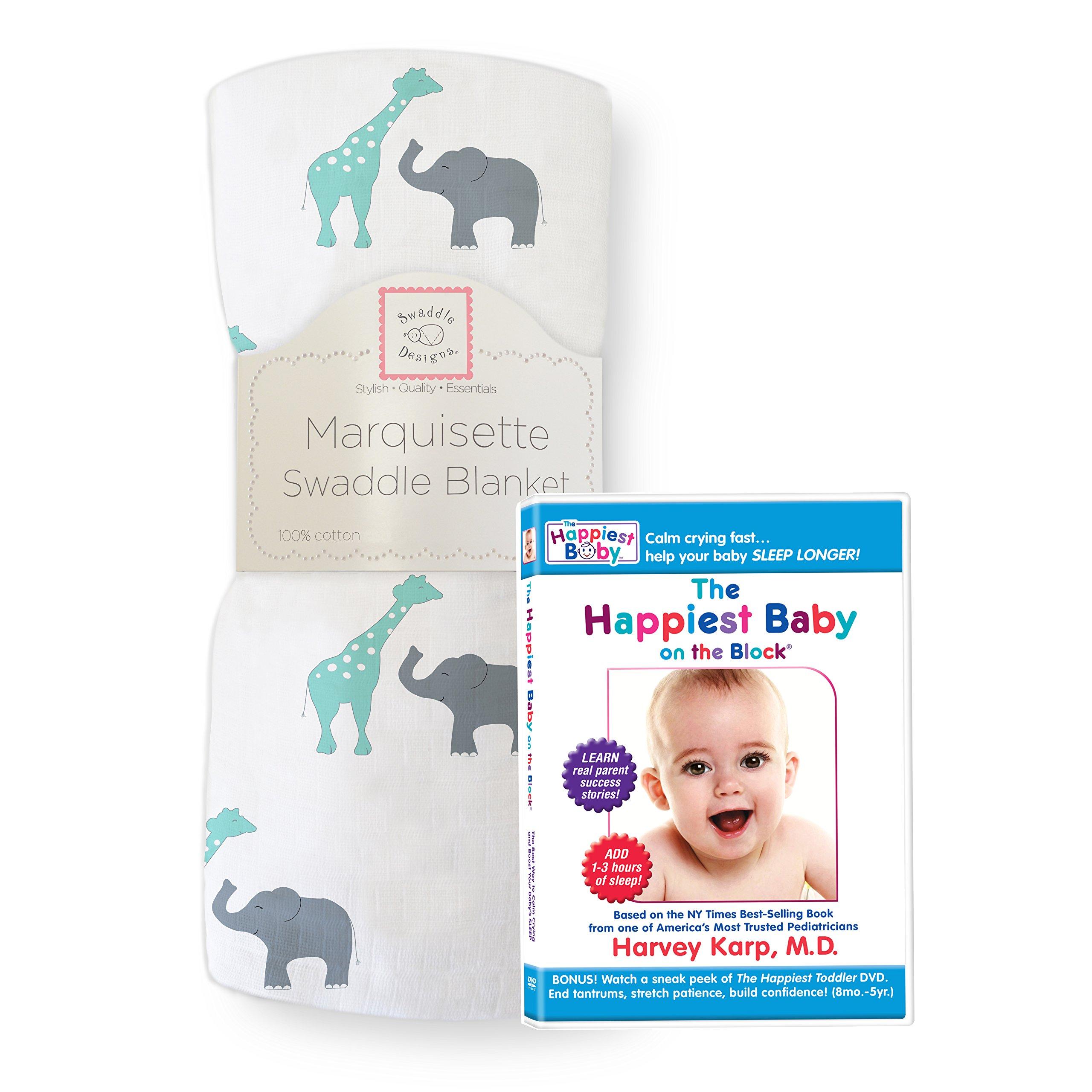 SwaddleDesigns Marquisette Swaddling Blanket, Premium Cotton Muslin + The Happiest Baby DVD Bundle, SeaCrystal Safari Fun