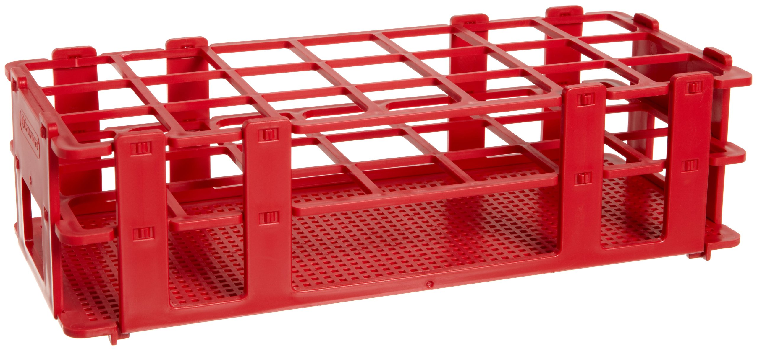 Bel-Art F18746-0004 No-Wire Test Tube Rack; 25-30mm, 21 Places, 9.7 x 4.1 x 2.5 in., Polypropylene, Red