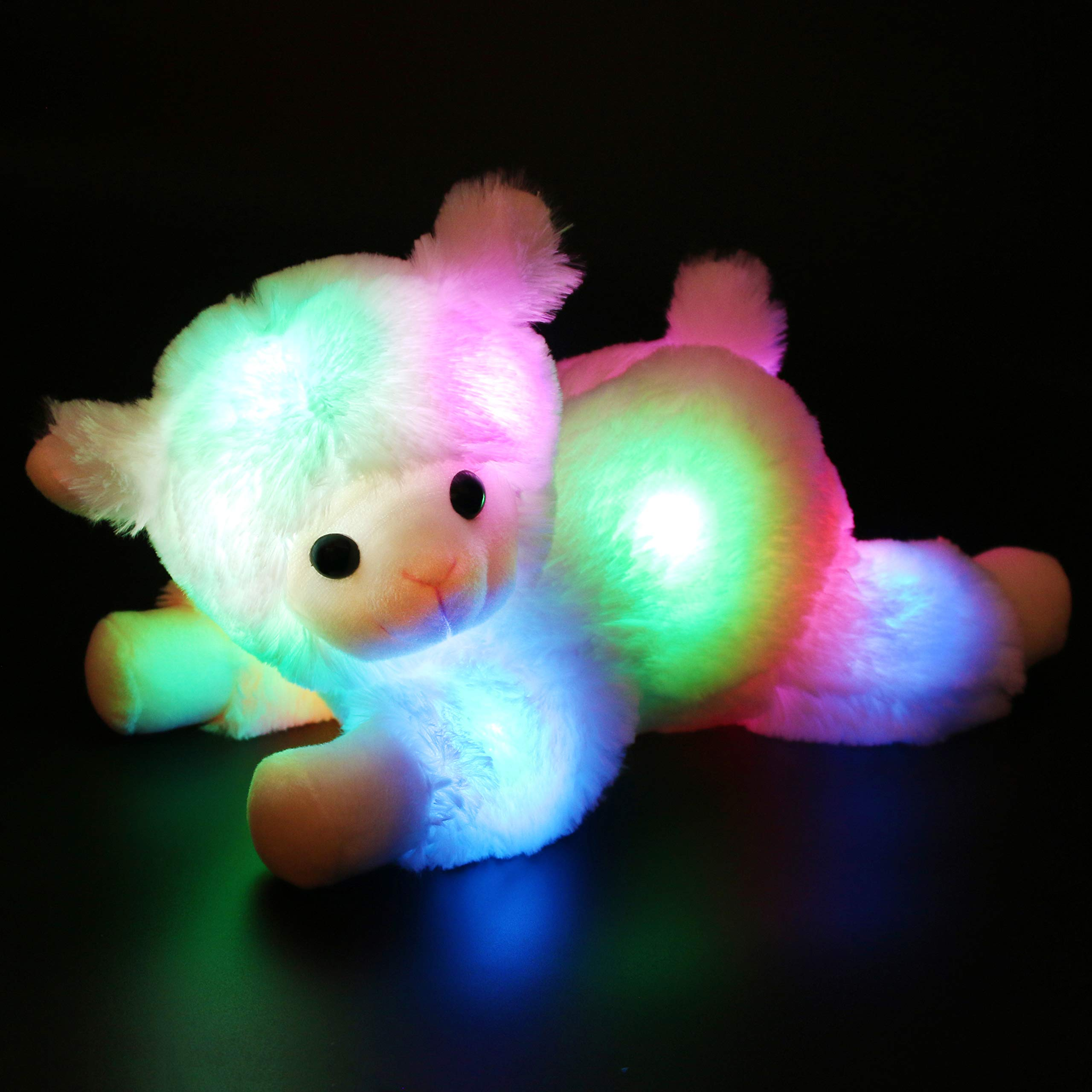 Bstaofy Light up Stuffed Lamb Plush Toy Glow Sheep Nightlight Soft Adorable Birthday for Kids Toddlers, 14.5 Inches