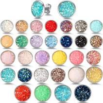 30 Pairs Round Stud Earrings Stainless Steel Druzy Studs Earrings Set Anti-Sensitive Fits Women Girls, 8 mm, 10 mm, 12 mm