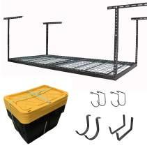 "MonsterRAX 4x8 Rack and Bins Bundle   4' x 8' Overhead Rack w/Storage Bins and Accessory Package (Hammertone, 24""-45"")"