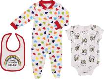 Mini B. by Baby Starters 3-Piece Layette Set with Sleep and Play, Bodysuit and Cloth Bib (White/Rainbow Hearts, 6-9 Months)