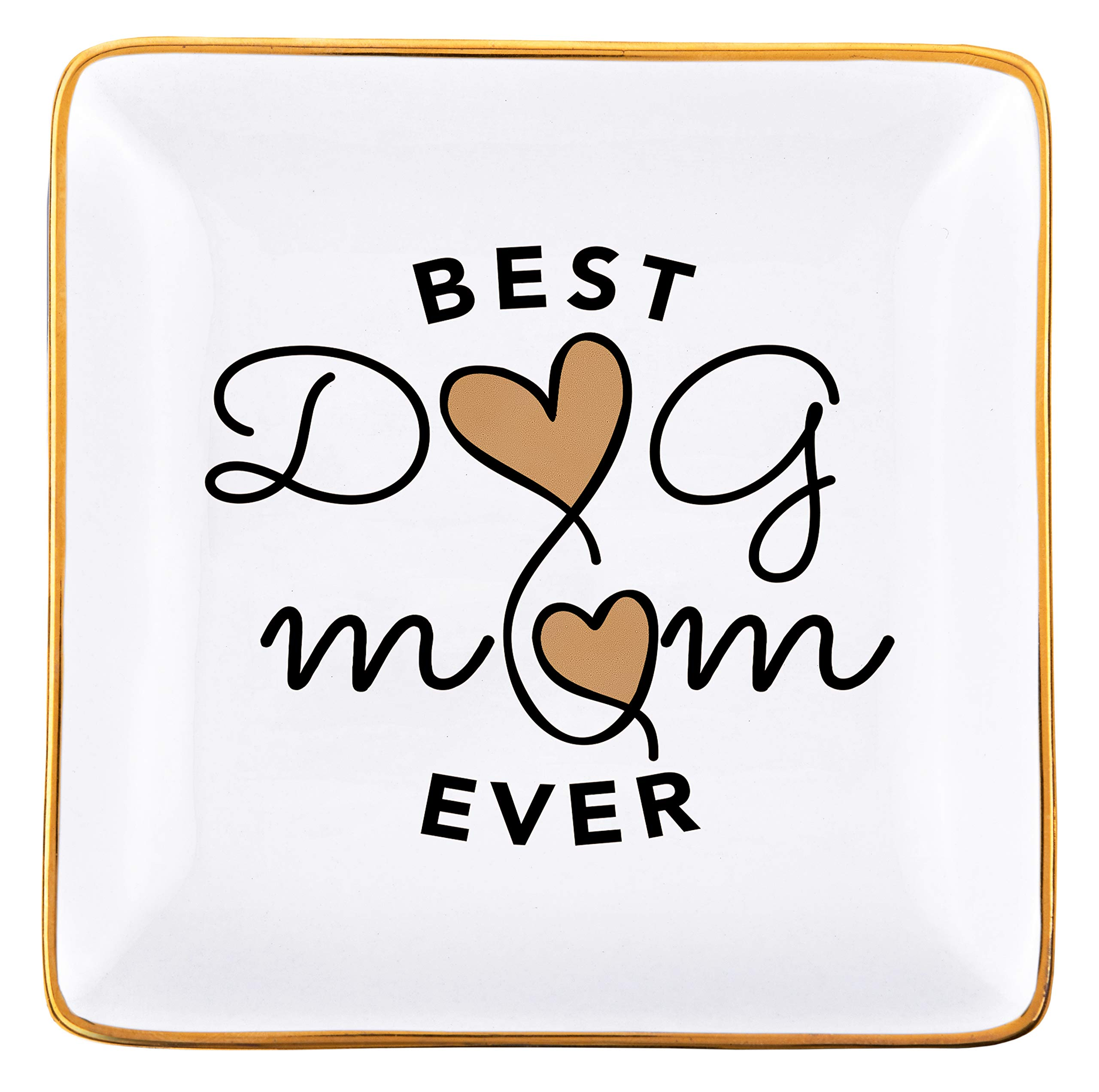 RELISSA Dog Mom Gifts, Best Dog Mom Ever Trinket Dish, Mother's Day for Dog Mom