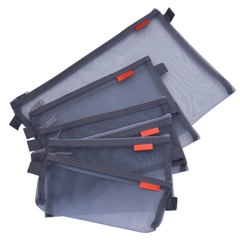 Pendancy 5 pcs 5 Size Mesh Nylon Ultra-Light Document Pouches Zipper Pen Bags (Grey)