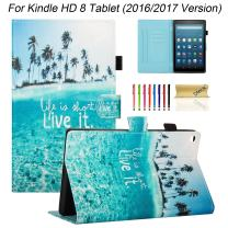 Dteck Case for Fire HD 8 Tablet (8th Generation 2018 /7th Generation 2017 /6th Generation 2016), Synthetic Leather Protective Stand Wallet Leather Smart Slim Cover with Stylus Pen (Charming Beach)